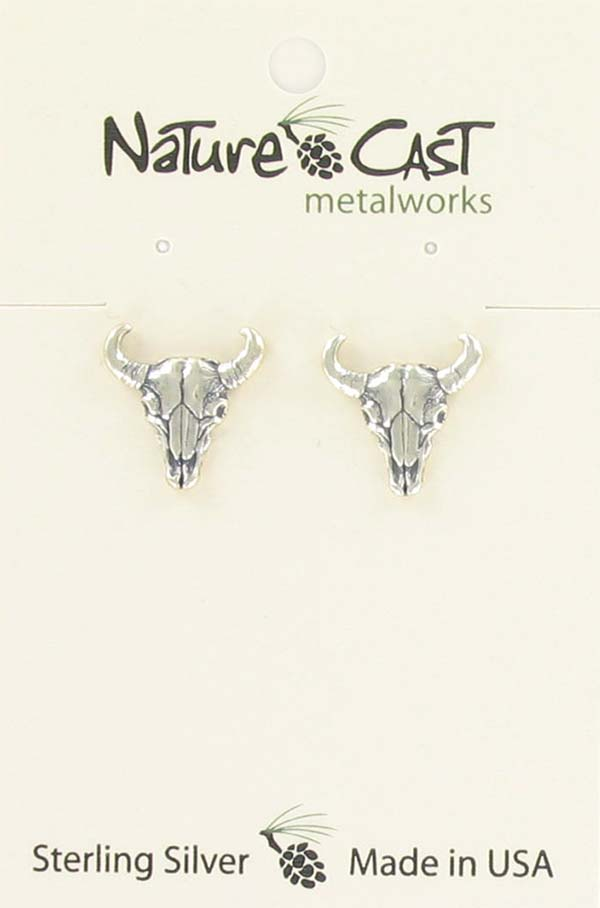 Earring post buffalo skull sterling silver
