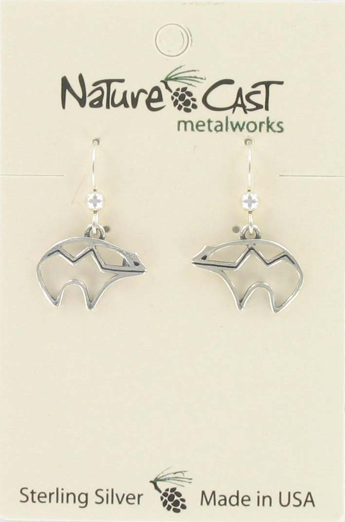 Earring dangle open bear sterling silver THUMBNAIL