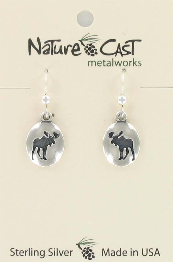 Earring dangle oval moose sterling silver