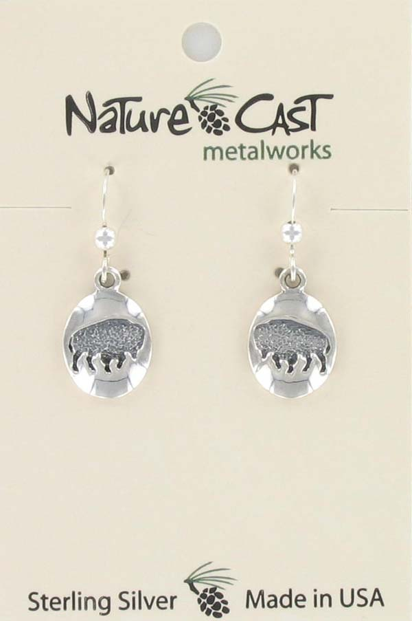 Earring dangle oval buffalo sterling silver THUMBNAIL