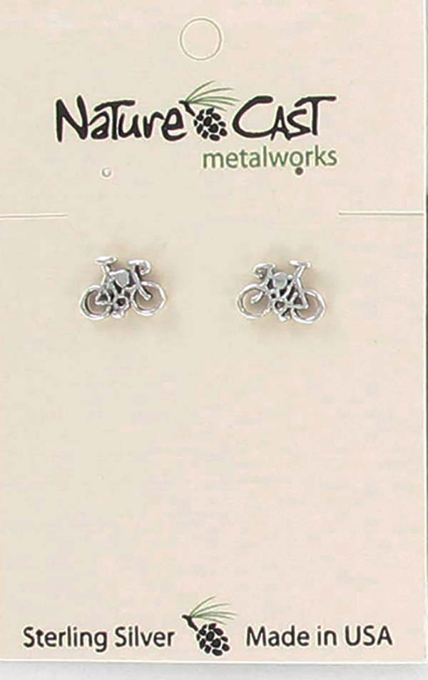 Earring post sterling silver bicycle THUMBNAIL