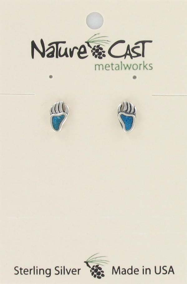 Earring post sterling silver bear claw turquoise