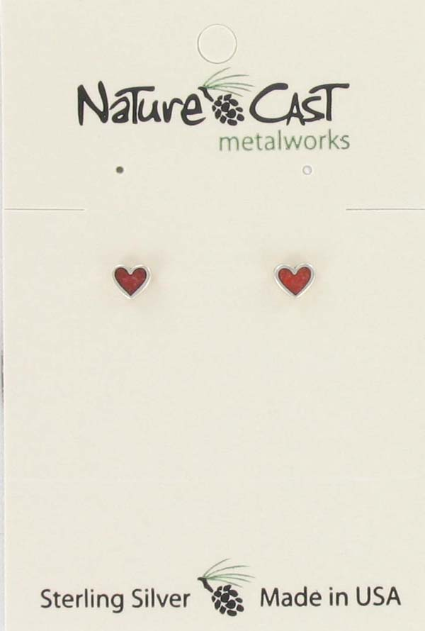 Earring post sterling silver coral inlay heart