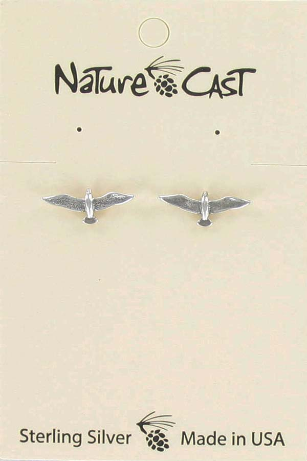 Earring post sterling silver seagull THUMBNAIL