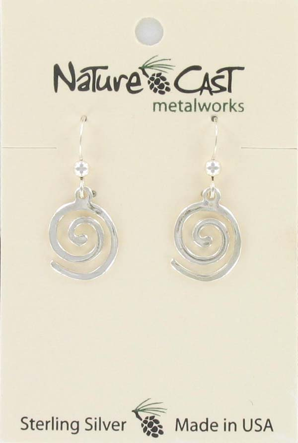 Earring dangle flat spiral sterling silver
