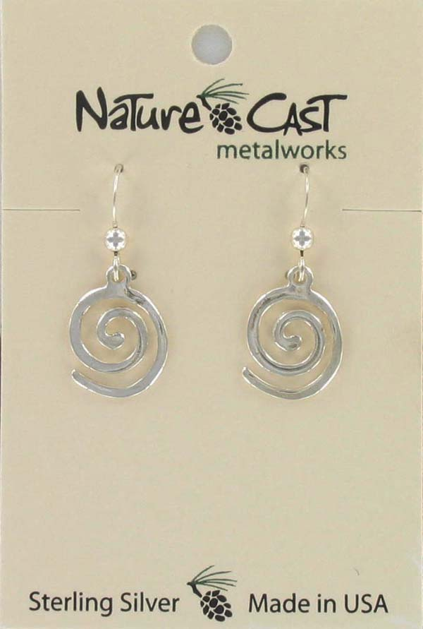 Earring dangle flat spiral sterling silver LARGE