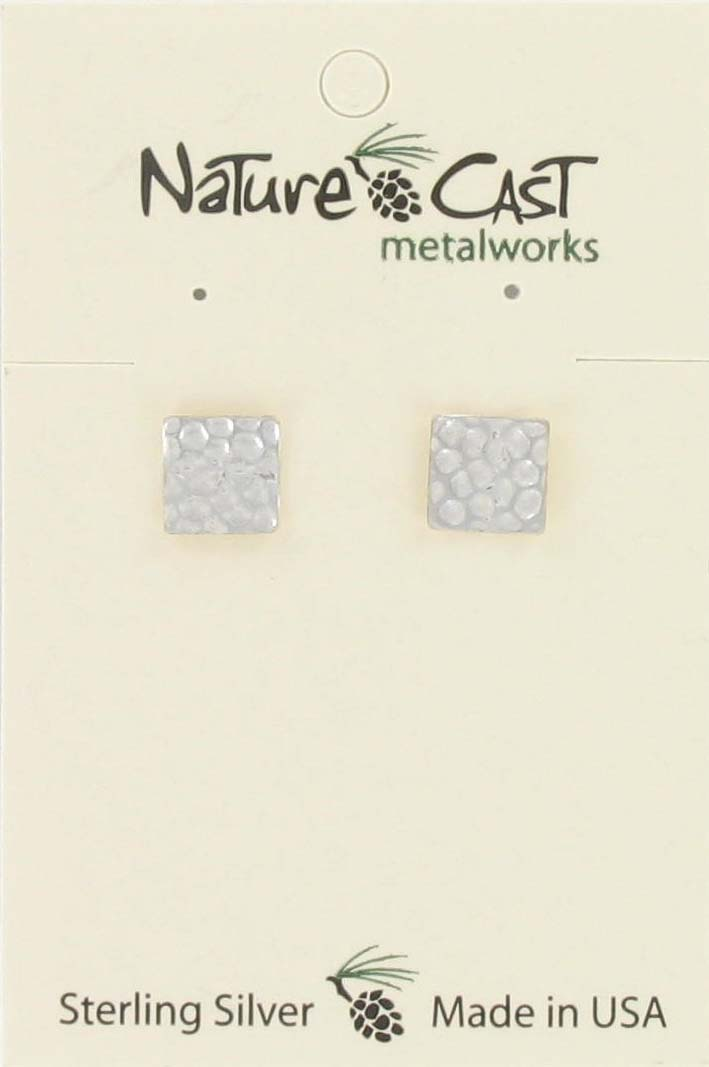 Earring post hammered square sterling silver