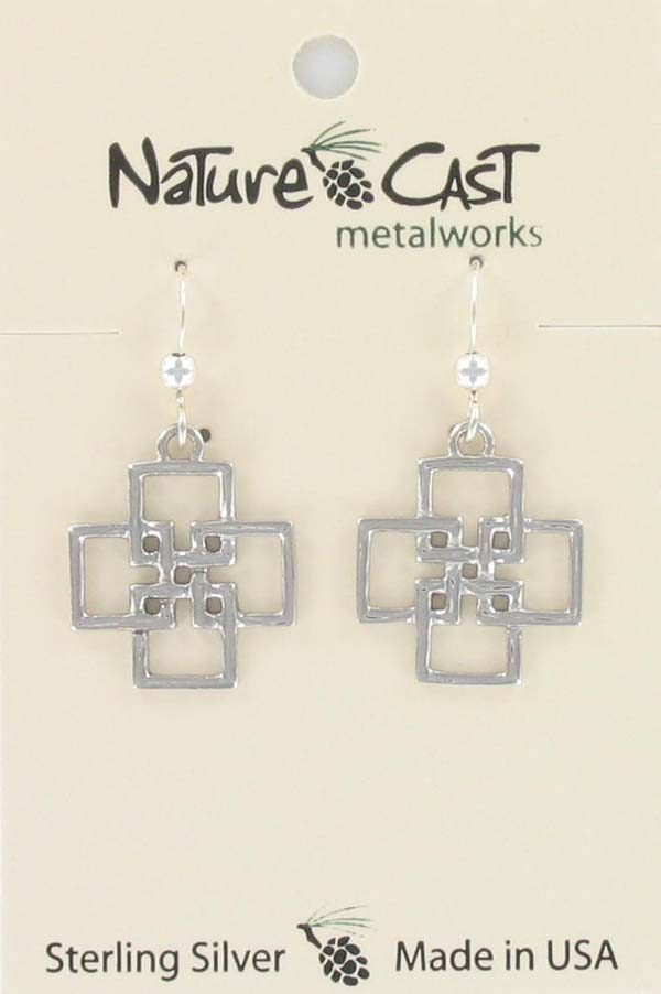 Earring dangle interlinked squares sterling silver