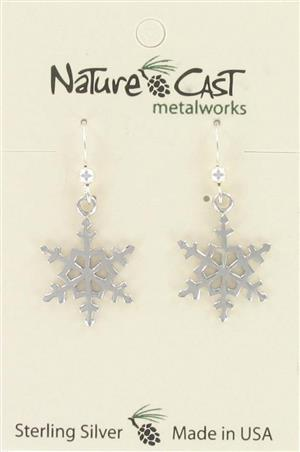 Earring dangle sterling silver snowflake LARGE