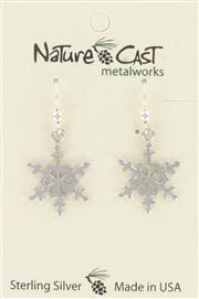 Earring dangle sterling silver snowflake THUMBNAIL