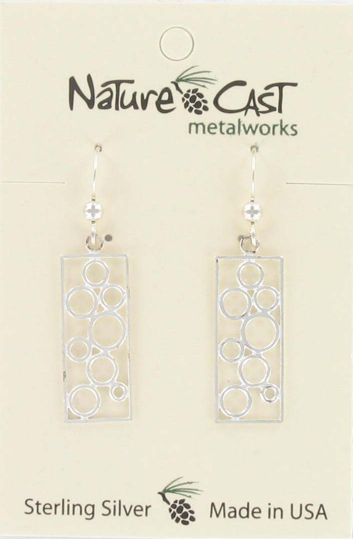 Earring dangle rectangle w/ multi circles sterling silver THUMBNAIL