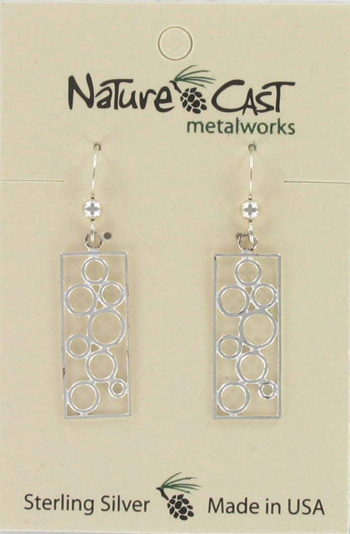 Earring dangle rectangle w/ multi circles sterling silver LARGE