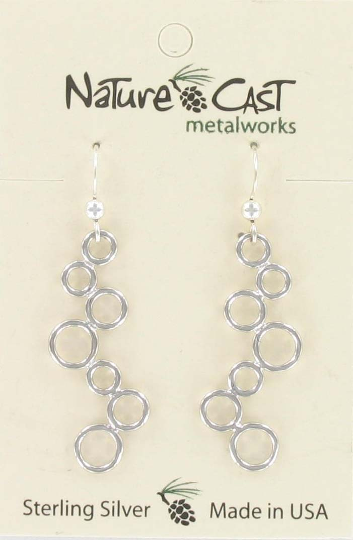 Earring dangle multi circles sterling silver