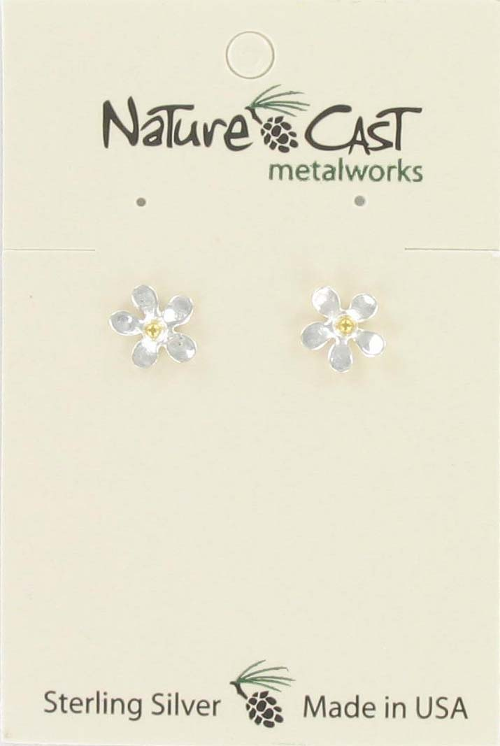 Earring post flower w/ gold center sterling silver