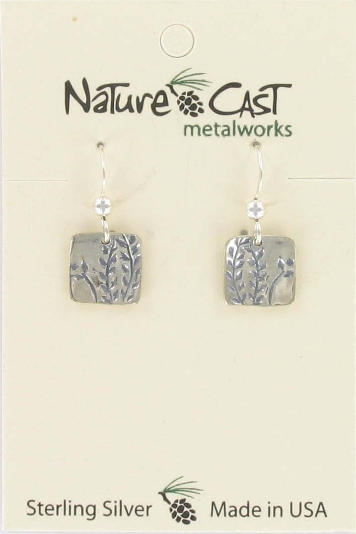 Earring dangle square w/ leaf sterling silver THUMBNAIL