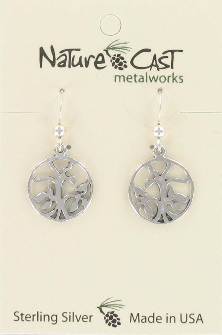 Earring dangle circle w/ tree sterling silver THUMBNAIL