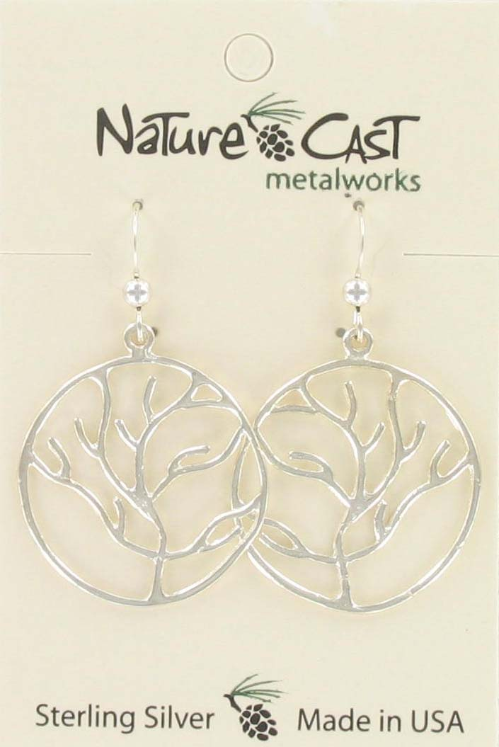 Earring dangle tree of life sterling silver
