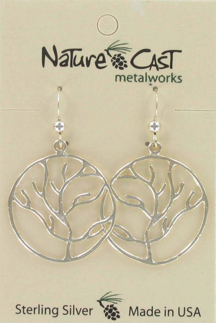 Earring dangle tree of life sterling silver THUMBNAIL