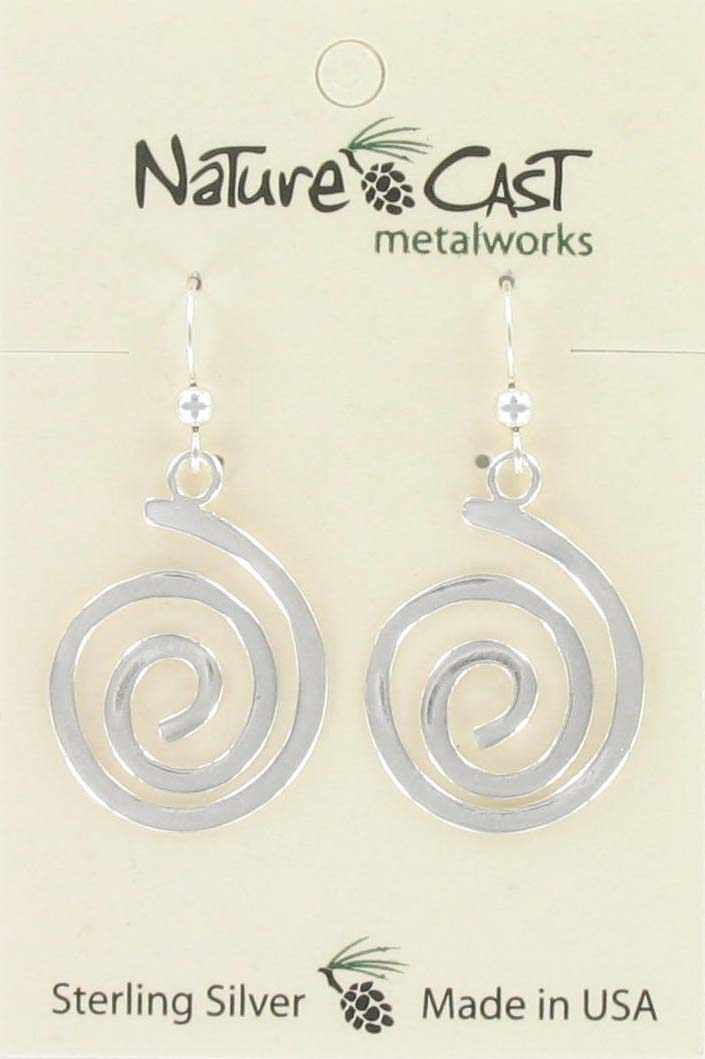 Earring dangle large spiral sterling silver
