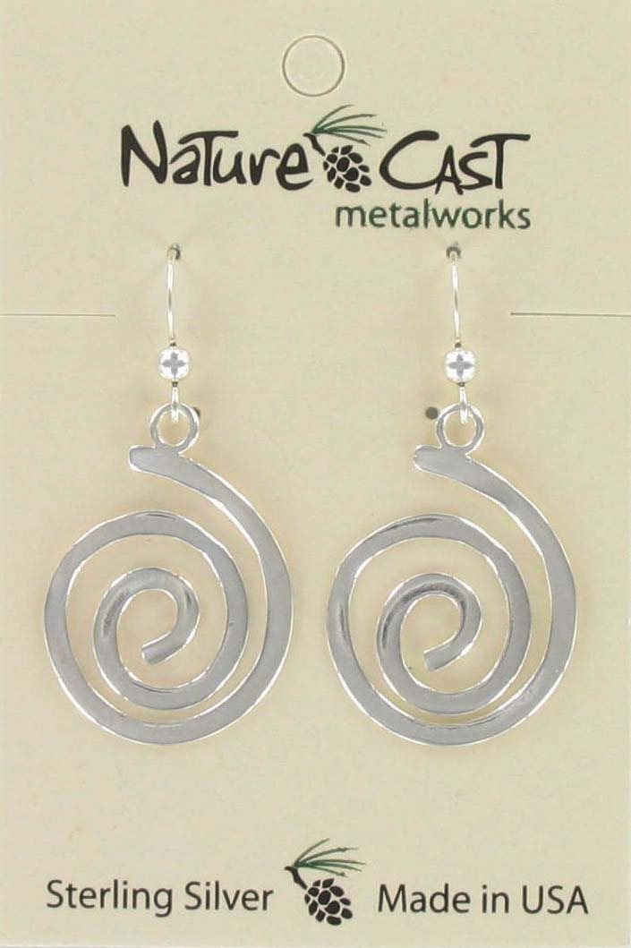 Earring dangle large spiral sterling silver MAIN