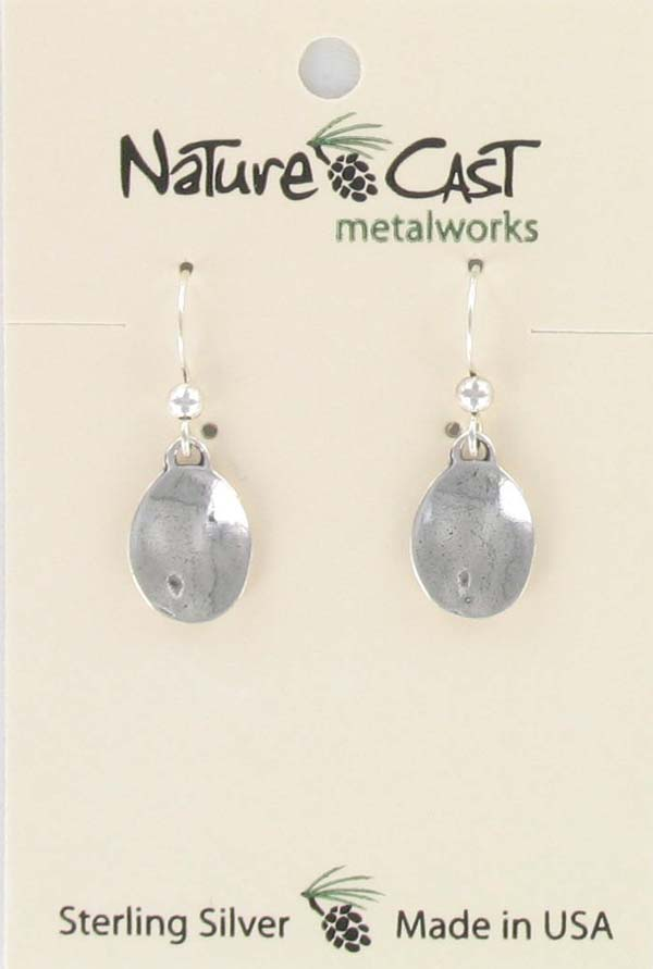 Earring dangle sterling silver oval drop