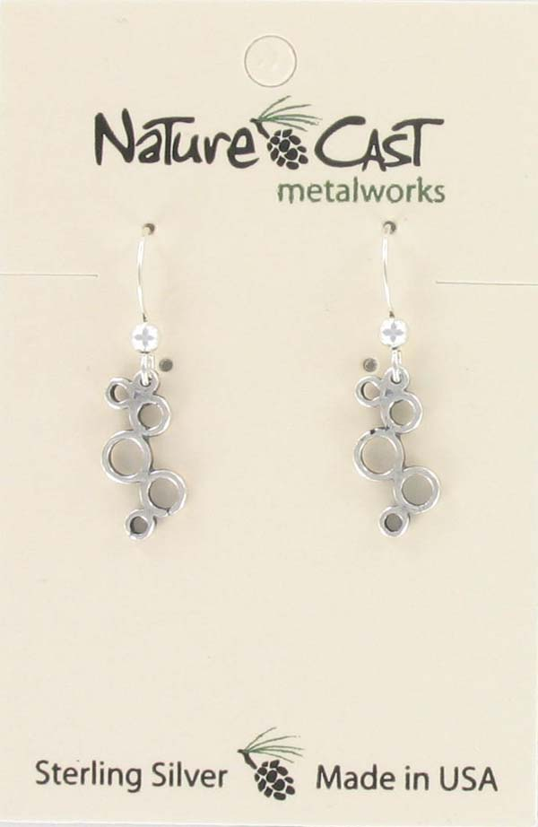 Earring dangle sterling silver small bubbles