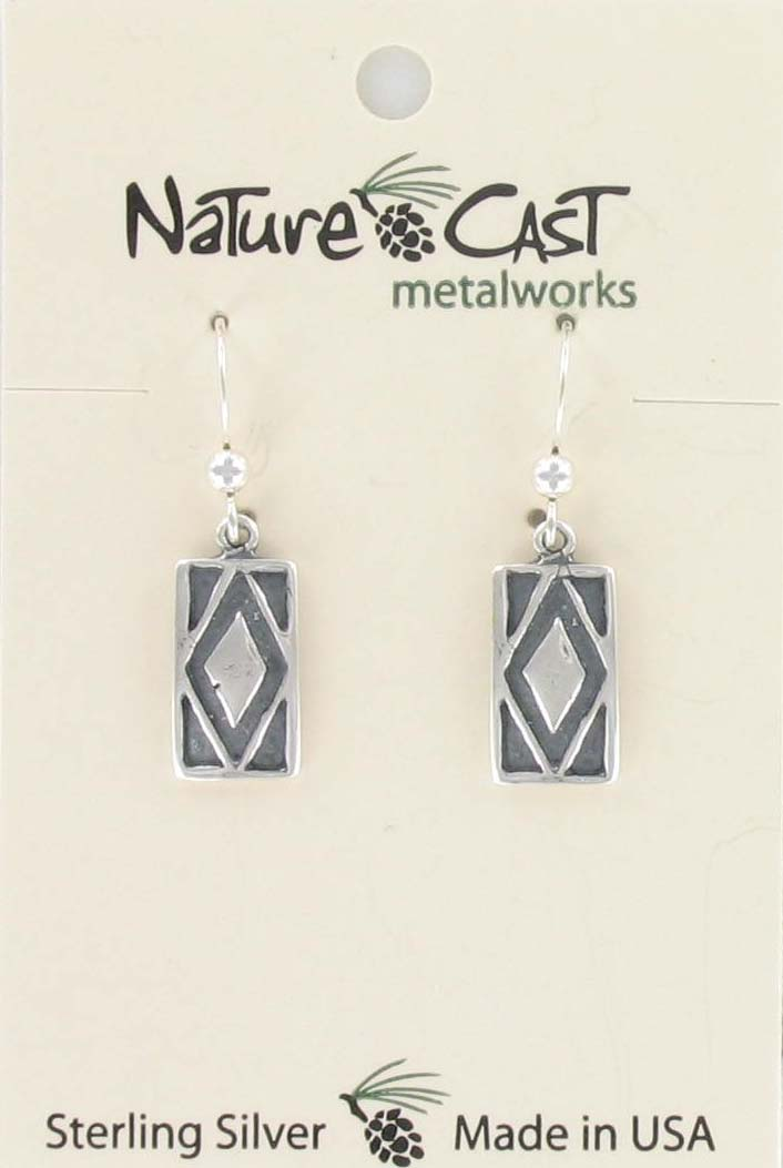 Earring dangle sterling silver oxidized rectangle THUMBNAIL