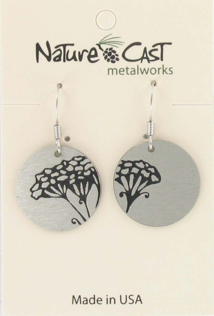 Earring dangle mismatch floral disc THUMBNAIL