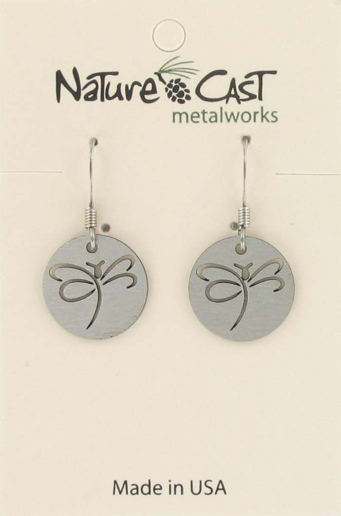 Earring dangle cutout dragonfly disc