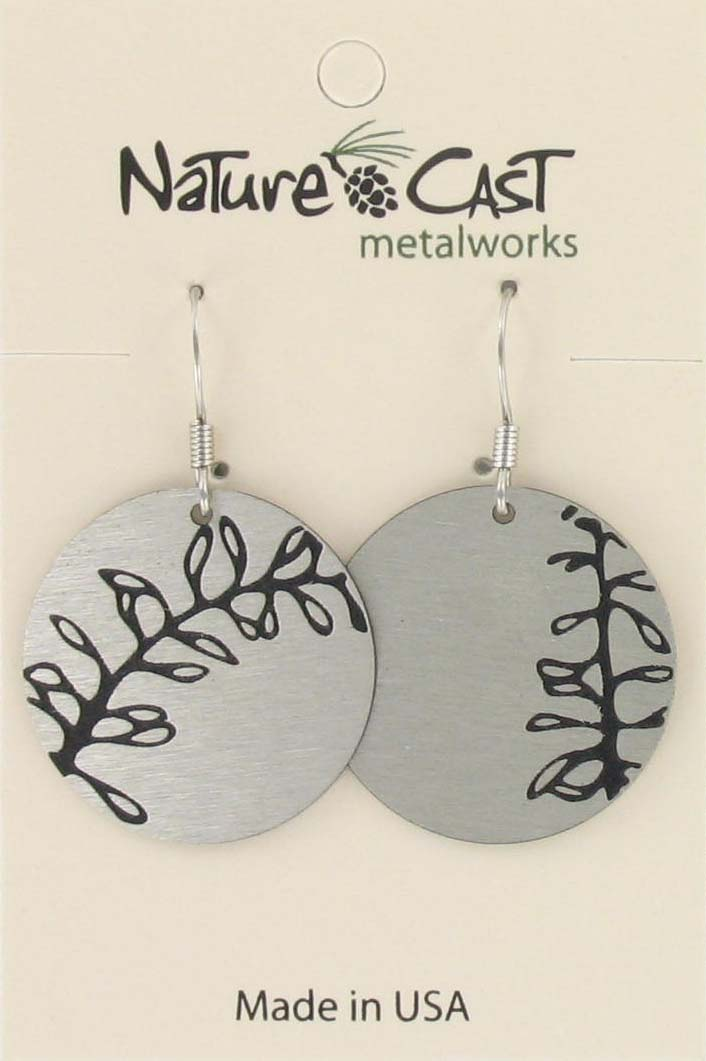 Earring dangle miss match leaves disc