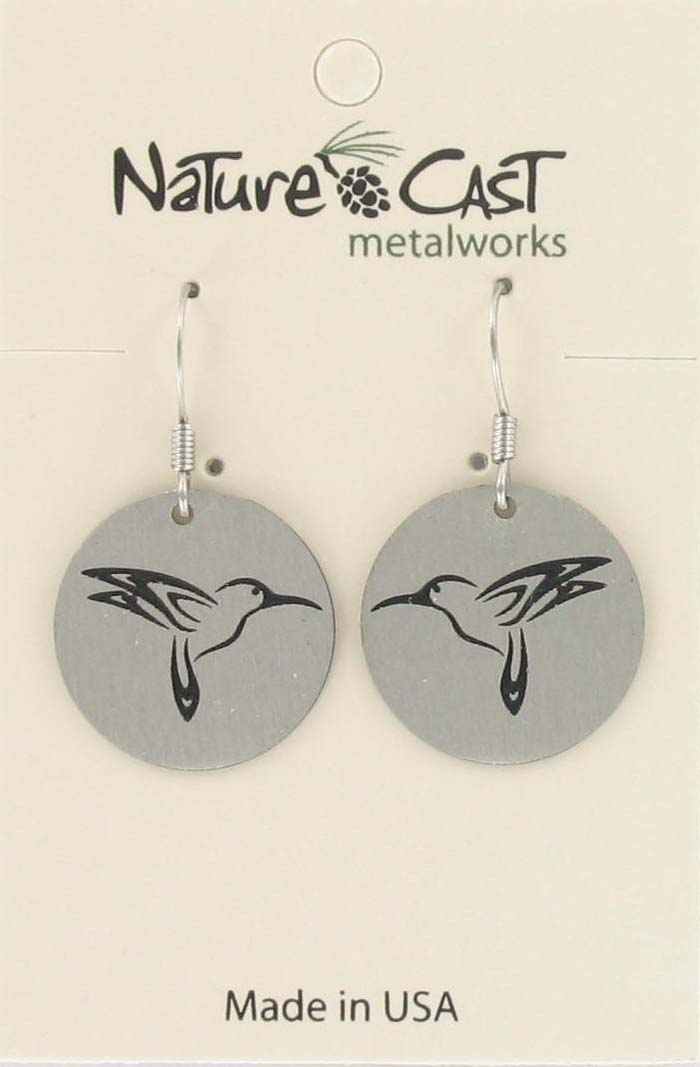 Earring dangle hummingbird disc