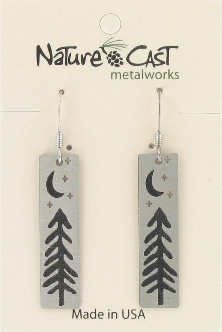 Earring dangle tree with moon and stars disc THUMBNAIL