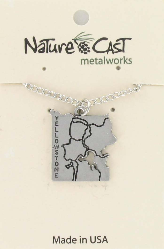 "Pendant Yellowstone map w / 18"" chain"