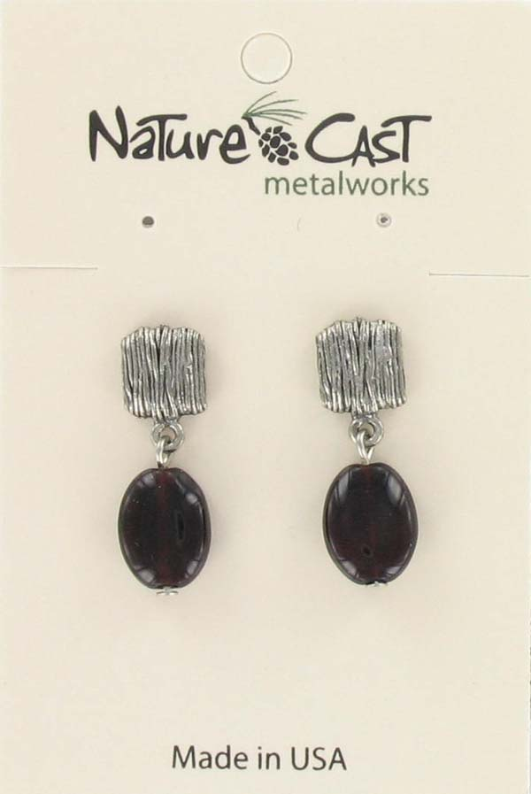 Earring post with garnet drop THUMBNAIL