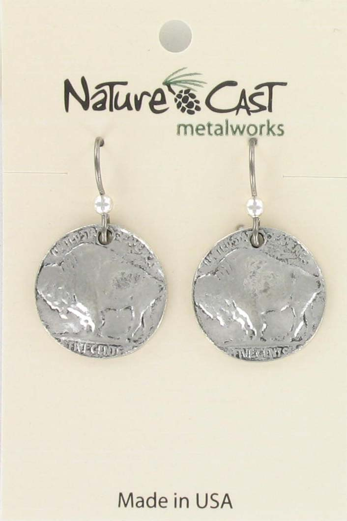 Earring dangle buffalo coin