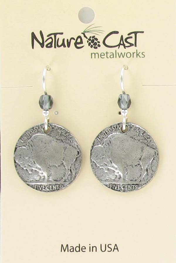 Earring dangle buffalo coin THUMBNAIL