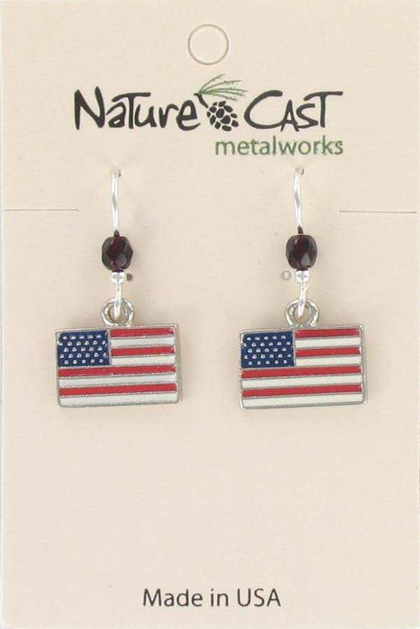 Earring dangle American Flag THUMBNAIL