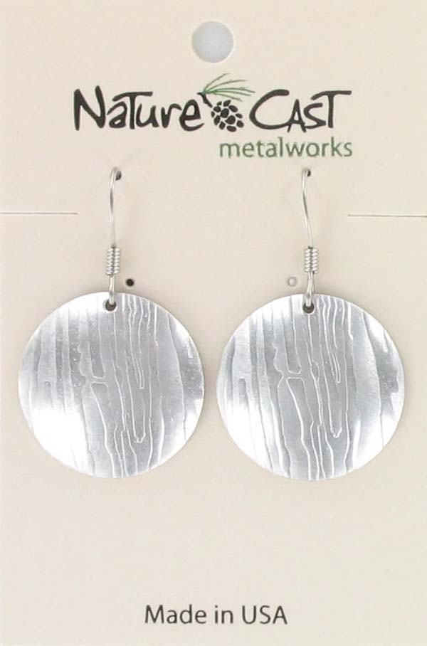 Earring dangle wood grain disc