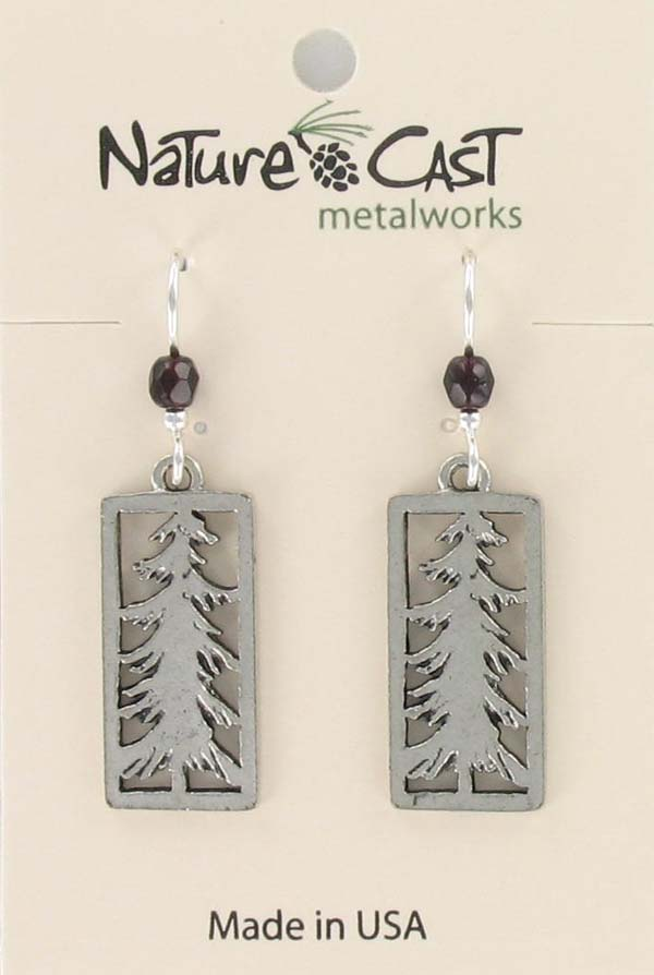 Earring dangle pine tree in rectangle