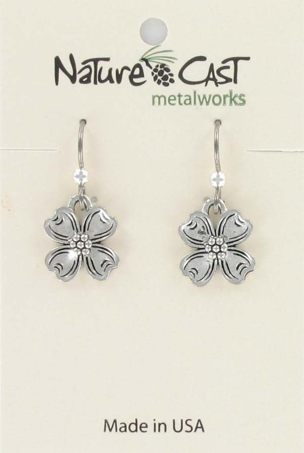 Earring dangle dogwood flower MAIN