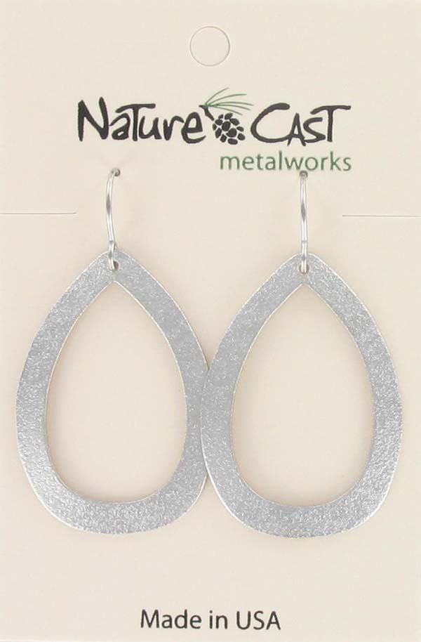 Earring dangle large teardrop shaped hoop THUMBNAIL