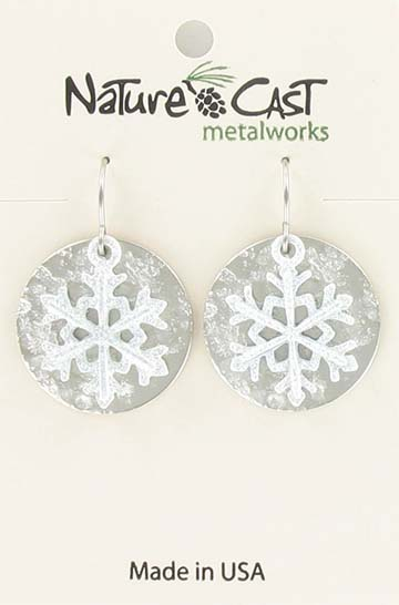 Earring dangle white snowflake on disc