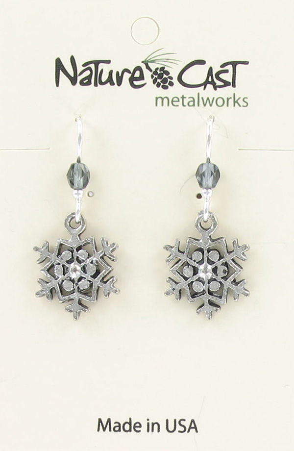 Earring dangle small snowflake THUMBNAIL