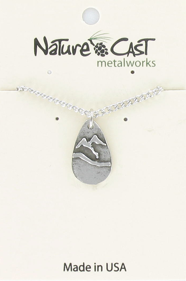 "Pendant teardrop mountain w/ 18""chain"