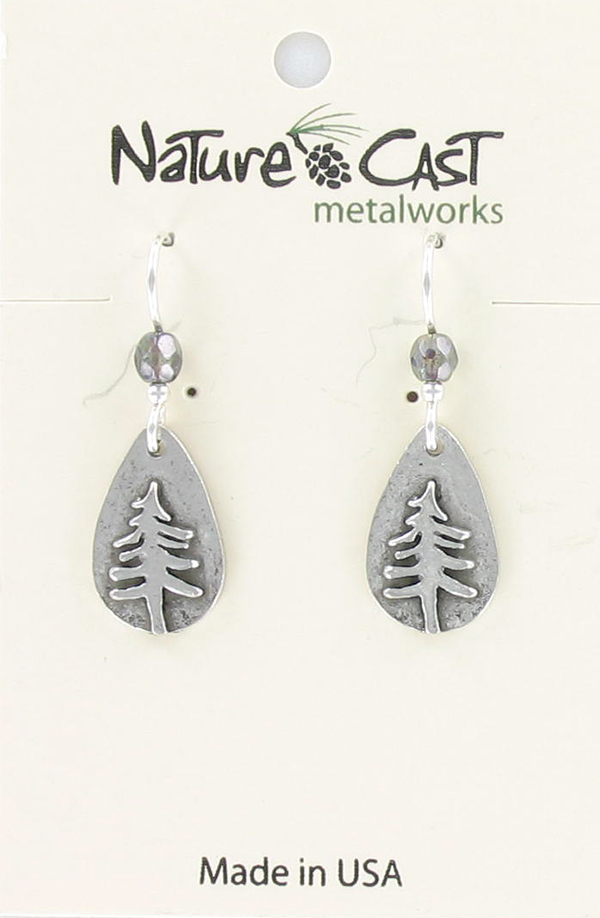Earring dangle teardrop pine tree