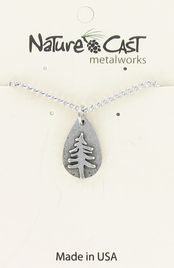 "Pendant teardrop pine tree w/ 18"" chain"