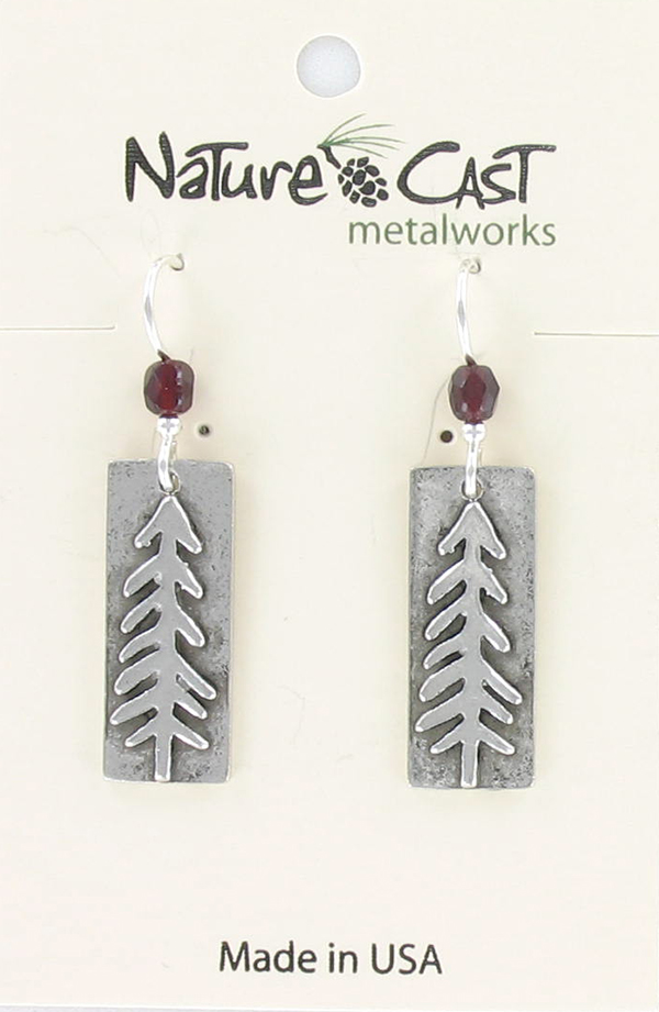Earring dangle funky tree on rectangle THUMBNAIL