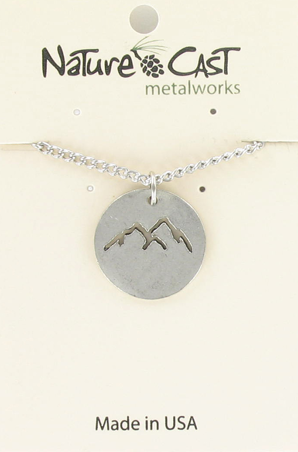 "Pendant cutout mountain peaks w/ 18"" chain"