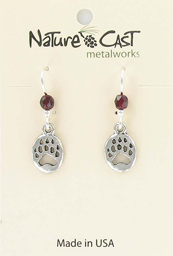 Earring dangle small bear paw THUMBNAIL
