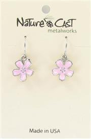 Earring dangle enamel cherry blossom THUMBNAIL